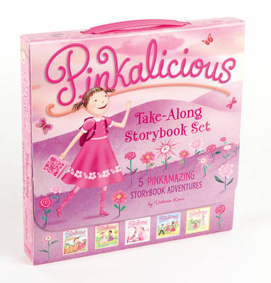 The Pinkalicious Take-Along Storybook Set Tickled Pink, Pinkalicious and the Pink Drink, Flower Girl, Crazy Hair Day, Pinkalicious and the New Teacher by Victoria Kann