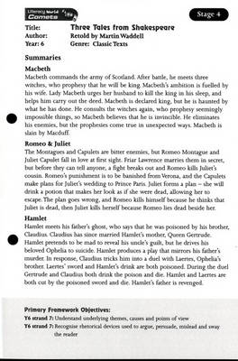 Literacy World Comets Stage 4: Three Tales from Shakespeare Guided Reading Card Framework by Martin Waddell