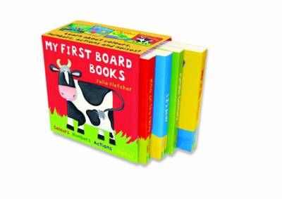 My First Board Books Jungle Colours , 1 2 3 Sea , Hop in the Garden , Moo on the Farm by Julie Fletcher