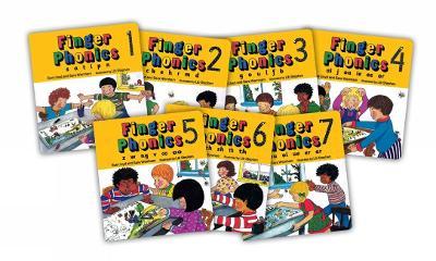 Finger Phonics books 1-7 in Precursive Letters (BE) by Sara Wernham, Sue Lloyd
