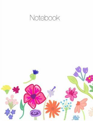 Notebook, Large, 8.5 X 11, Ruled + Grid Notes, Floral Cover Theme by April Chloe Terrazas