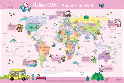 Hello Kitty Children's World Wall Map with Free Stickers by Collins Maps