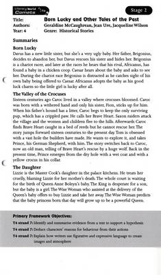 Literacy World Comets Stage 2: Born Lucky and Other Tales Guided Reading Card Framework Ed by Geraldine McCaughrean, Jean Ure, Jacqueline Wilson