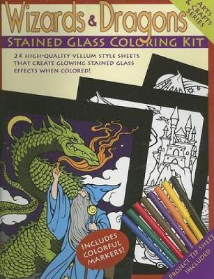 Wizards & Dragons Stained Glass Coloring Kit by Dover
