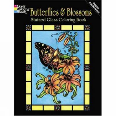 Butterflies and Blossoms Stained Glass Coloring Book by Carol Schmidt