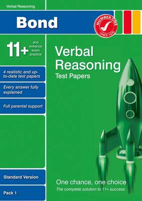 Bond 11+ Test Papers Verbal Reasoning Standard Pack 1 by Frances Down