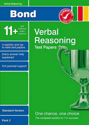 Bond 11+ Test Papers Verbal Reasoning Standard Version Pack 2 by Frances Down