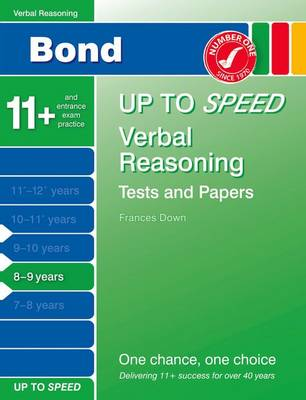 Bond Up to Speed Verbal Reasoning Tests and Papers 8-9 Years by