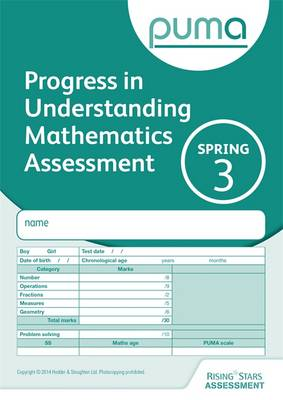 PUMA Test 3, Spring Pk10 (Progress in Understanding Mathematics Assessment) by Colin McCarty, Caroline Cooke