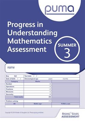PUMA Test 3, Summer Pk10 (Progress in Understanding Mathematics Assessment) by Colin McCarty, Caroline Cooke