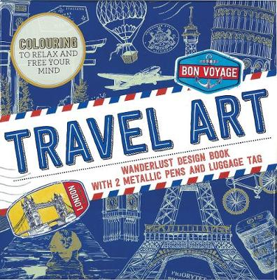 Travel Art Wanderlust Design Book with 2 Metallic Pens and Luggage Tag by