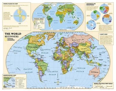 Kids Beginners World Education (Grades K-3) Flat Wall Maps Education by National Geographic Maps