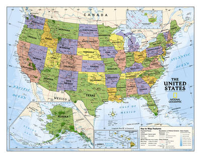 Kids Political USA Education (Grades 4-12) Flat Wall Maps Education by National Geographic Maps