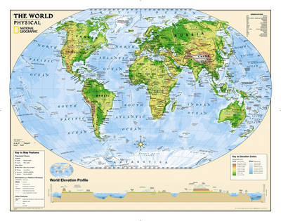 Kids Physical World Education (Grades 4-12) Flat Wall Maps Education by National Geographic Maps