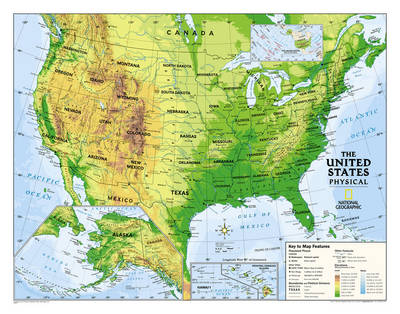 Kids Physical USA Education (Grades 4-12) Flat Wall Maps Education by National Geographic Maps