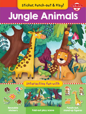 Jungle Animals Interactive Fun with Fold-Out Play Scene, Reusable Stickers, and Punch-Out, Stand-Up Figures! by Walter Foster Jr. Creative Team