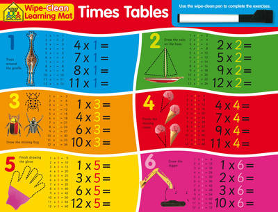 School Zone Wipe Clean Learning Mats: Times Tables by