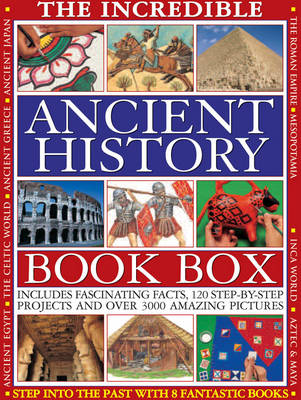 The Incredible Ancient History Book Box Ancient Greece. The Inca World. Mespootamia. The Roman Empire. Ancient Japan. Ancient Egypt. The Aztec & Maya Worlds. The Celtic World. by Fiona MacDonald, Lorna Oakes, Philip Steele, Richard Tames
