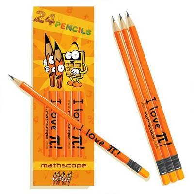 Pack of 24 Maths Pencils ( I Love [pi] ) by Stephane Derone