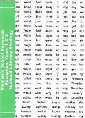 Magnetic School Keywords - Reception, Years 1 & 2 National Literacy Strategy by Julia Mayhew