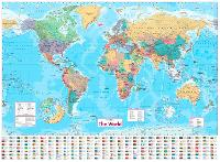 Collins World Wall Paper Map by Collins Maps