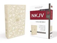 NKJV, Thinline Bible, Standard Print, Cloth over Board, White/Tan, Red Letter Edition, Comfort Print by Thomas Nelson