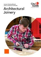 Level 2 Technical Certificate in Architectural Joinery: Learner Training Manual by