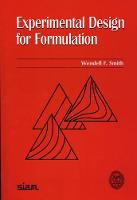 Experimental Design for Formulation by Wendell F. Smith