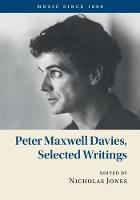 Peter Maxwell Davies, Selected Writings by Peter Maxwell Davies