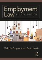 Employment Law Eighth edition by Malcolm (Middlesex University, UK) Sargeant, David (Middlesex University, UK) Lewis