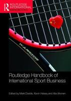 Routledge Handbook of International Sport Business by Professor Mark Dodds