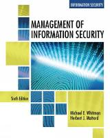 Management of Information Security by Michael (Michael J. Coles College of Business, Kennesaw State University) Whitman, Herbert (Michael J. Coles College o Mattord