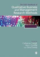 The SAGE Handbook of Qualitative Business and Management Research Methods by Cathy Cassell