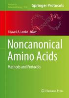Noncanonical Amino Acids Methods and Protocols by Edward A. Lemke
