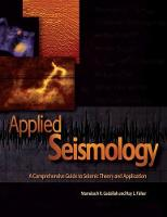 Applied Seismology A Comprehensive Guide to Seismic Theory and Application by Mamdouh R. Gadallah, Ray L. Fisher