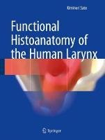 Functional Histoanatomy of the Human Larynx by Kiminori Sato