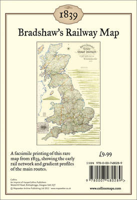 Bradshaw's Railway Map 1839 Wall Map by George Bradshaw