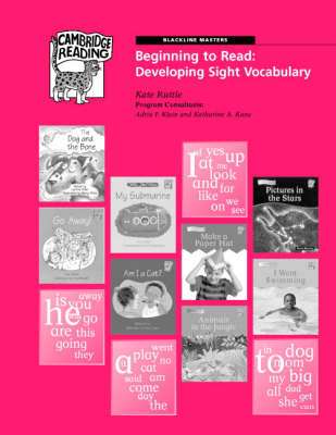 Beginning to Read: Black Line Masters for Developing Sight Vocabulary American English Edition by Kate Ruttle