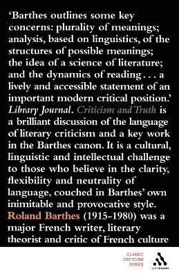 Criticism and Truth by Roland Barthes, Philip Thody