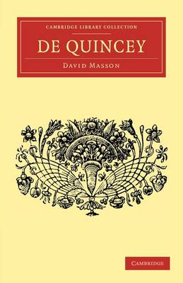 De Quincey by David Masson