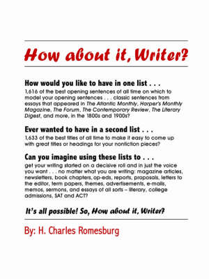 How About it, Writer? by Charles Romesburg