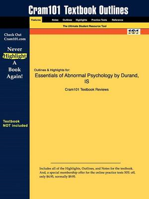 Studyguide for Essentials of Abnormal Psychology by Barlow, Durand &, ISBN 9780534605759 by Cram101 Textbook Reviews