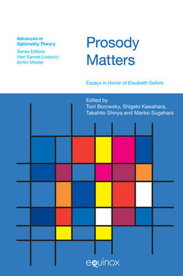Prosody Matters Essays in Honor of Elisabeth Selkirk by Toni Borowsky