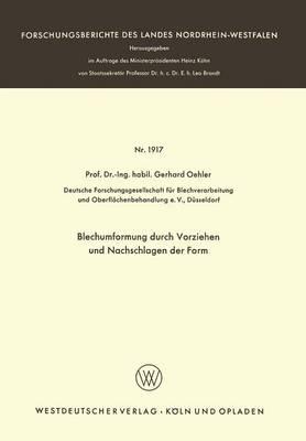 Blechumformung Durch Vorziehen Und Nachschlagen Der Form by Gerhard Oehler