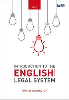 Introduction to the English Legal System 2017-2018 by Martin (Emeritus Professor of Law and Senior Research Fellow, University of Bristol) Partington