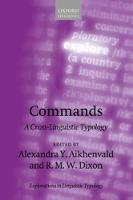 Commands A Cross-Linguistic Typology by Alexandra Y. Aikhenvald