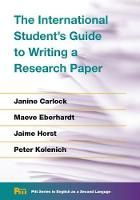 The International Student's Guide to Writing a Research Paper by Janine Carlock