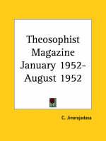 Theosophist Magazine (January 1952-August 1952) by C. Jinarajadasa
