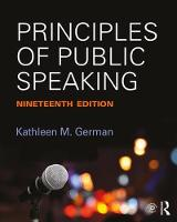Principles of Public Speaking by Kathleen M. German