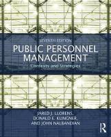 Public Personnel Management Contexts and Strategies by John Nalbandian, Jared J. Llorens, Donald E. Klingner